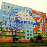 декоративная окраска фасада жилого дома