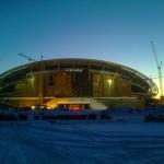 13 Установка поликорбанатной кровли на стадионе Рубин. (Казань)
